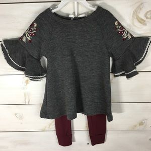 Tahari Baby | 2 Pc. Burgundy Embroidered Set